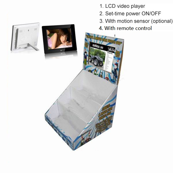 Cardboard pop display with lcd screen digital photo frame
