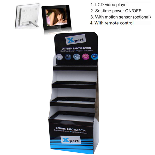 Cardboard display rack with 10 inch video player