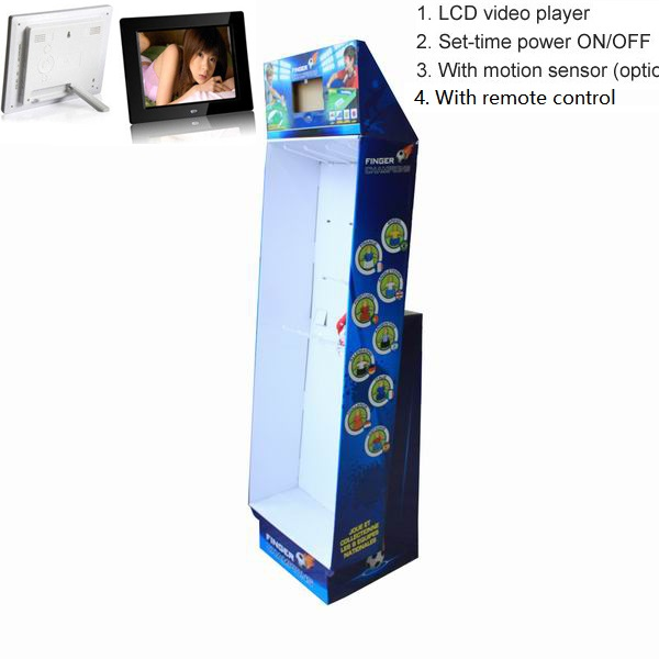cardboard pop display shelf with lcd screen video player