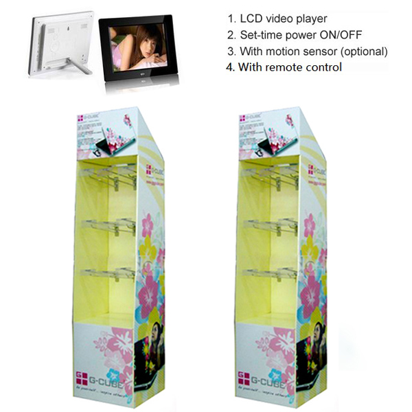 High quality corrugated display stands with lcd