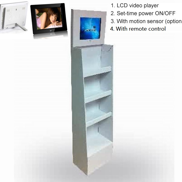 Carton hanging display with digital photo frame