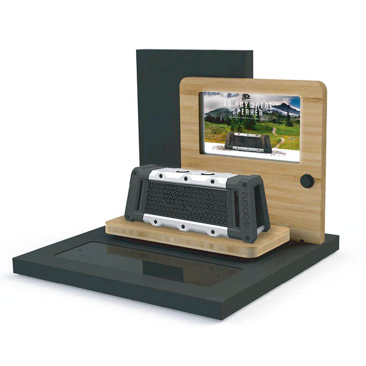 POP Wooden Counter Display with LCD Screen Inserted Bluetooth