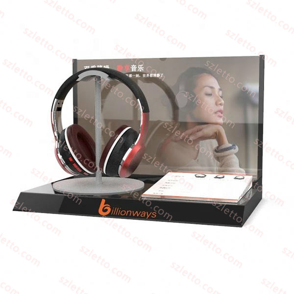Electronic/headphone products display stand on table