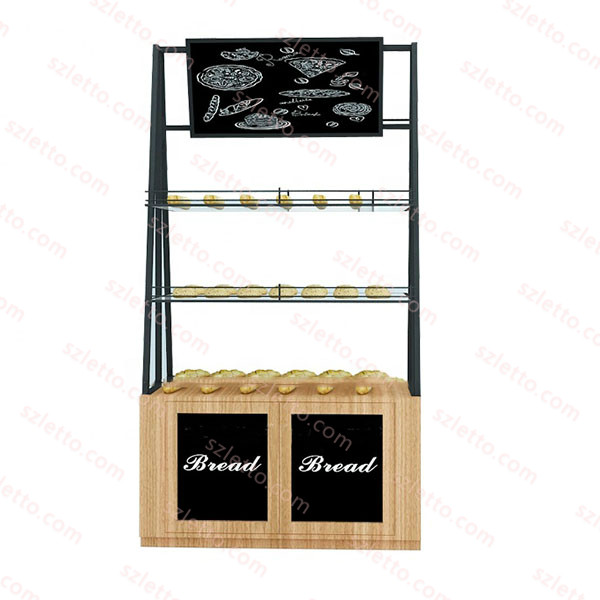 Modern bread rack for pastry shelf wooden retail store display stand