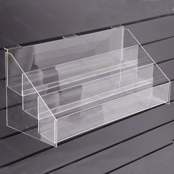 3 Tier Wall Mounted Clear Acrylic Slat Wall Nail Polish Display Rack